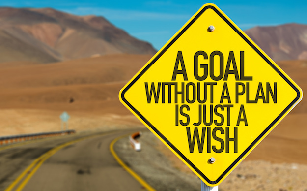 """Yellow road sign saying """"A goal without a plan is just a wish""""."""